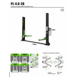Elevador 2 columnas Modelo: PL4.0-2D