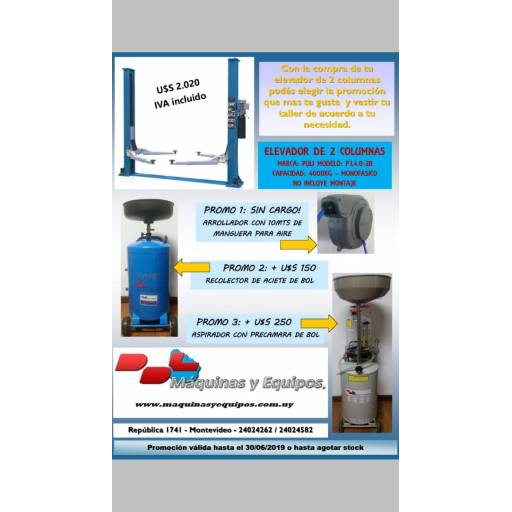 Elevador 2 columnas Modelo: PL4.0-2B OFERTA HASTA JUNIO DE 2019 O HASTA AGOTAR STOCK